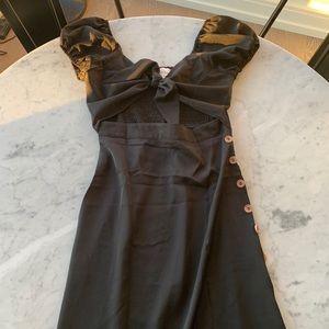 Off the Shoulder Tie Front Midi Dress
